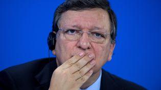 Le président de la Commission européenne,José Manuel Barroso, pendant une conférence de presse, le 3 juillet 2013, à Berlin (Allemagne). (JOHANNES EISELE / AFP)