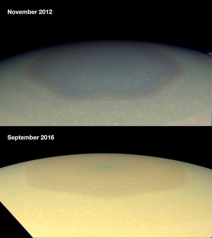 Le pôle Nord de la planète Saturne, photographié en couleurs naturelles par la sonde Cassini, en septembre 2016. (NASA / JPL-CALTECH /SPACE SCIENCE IINSTITUTE / HAMPTON UNIVERSITY)