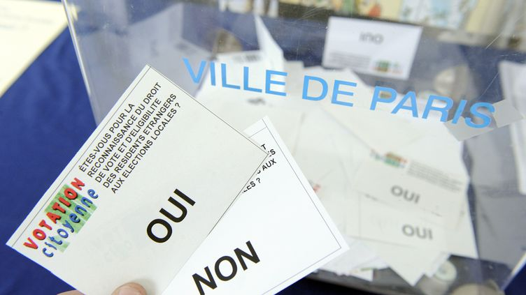 Lors d'un référendum symbolique sur le droit de vote des étrangers, organisé par le collectif Votation citoyenne, le 23 mai 2008 à Paris. (STEPHANE DE SAKUTIN / AFP)