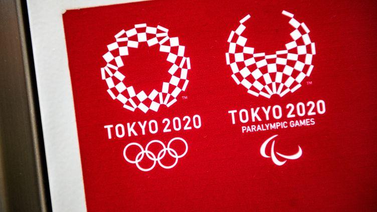 Le logo des Jeux olympiques de Tokyo. (PHILIP FONG / AFP)