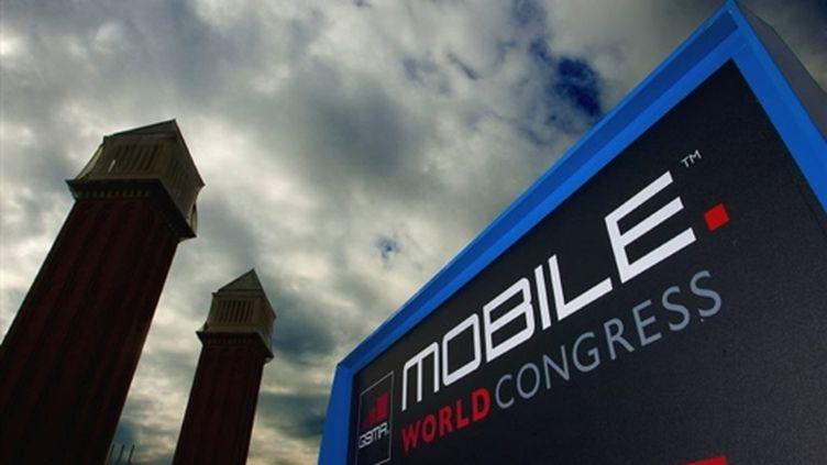 Affiche du Congrès mondial de la téléphonie à Barcelone. 14/02/10 (AFP Josep Lago)