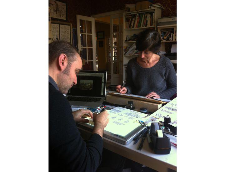 Lewis Trondheim et Brigitte Findakly à l'oeuvre  (DR)