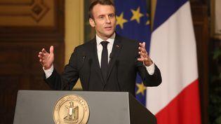 Emmanuel Macron donne une conférence de presse au Caire (Egypte), le 28 janvier 2019. (LUDOVIC MARIN / AFP)