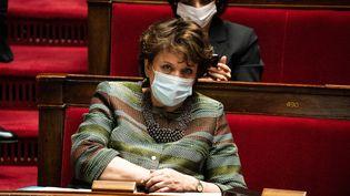 La ministre de la Culture, Roselyne Bachelot, lors d'une séance de questions au gouvernement à l'Assemblée nationale, le 16 mars 2021. (XOSE BOUZAS / HANS LUCAS / AFP)