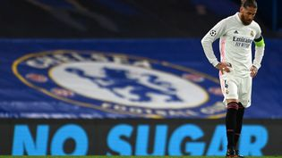 Sergio Ramos contre Chelsea, le 5 mai 2021. (GLYN KIRK / AFP)