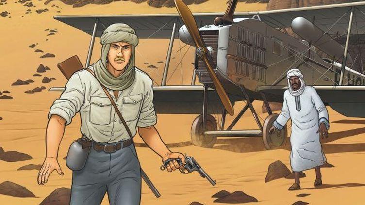 L'Aéropostale aux prises avec le désert entre l'Europe et Dakar dans les années 20. Extrait de la BD L'Aviateur (Editions Dargaud) de Jean-CharlesKraehn etChrys Millien. (Dargaud)