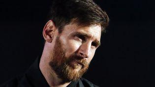 Le joueur argentin Lionel Messi lors d'une présentation à la presse de chaussures, le 26 janvier 2018 à Barcelone (Espagne). (PAU BARRENA / AFP)