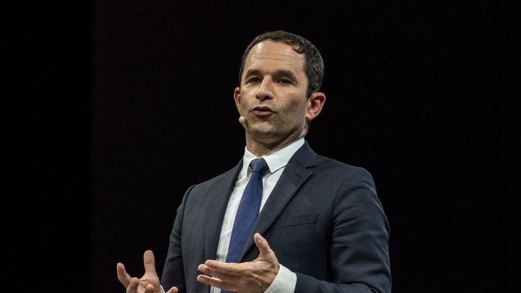 Benoît Hamon prononce un discours lors d'un meeting à Rennes (Ille-et-Vilaine), le 14 avril 2017. (MARTIN BERTRAND / HANS LUCAS)