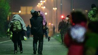 Des migrants marchent vers un centre pour réfugiés à Sentilj, en Slovénie, mercredi 4 novembre 2015. (JURE MAKOVEC / AFP)