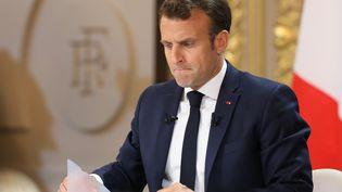 Emmanuel Macron le 25 avril 2019 lors de sa conférence de presse à l'Elysée (Paris). (LUDOVIC MARIN / AFP)