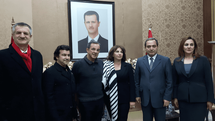Jean Lassalle, Nicolas Dhuicq et Thierry Mariani, le 5 janvier 2017 en Syrie (ALICE SERRANO / RADIO FRANCE)