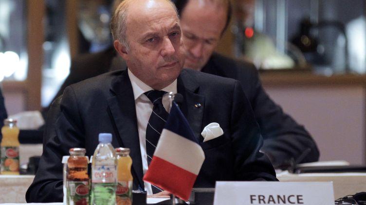 C'est depuis Amman, en Jordanie, où il participait àla réunion des Amis du peuple syrien, que Laurent Fabius, ministre des Affaires étrangères, a annoncé que la France proposait l'inscription du Hezbollah sur la liste noire de l'UE. (KHALIL MAZRAAWI / AFP)