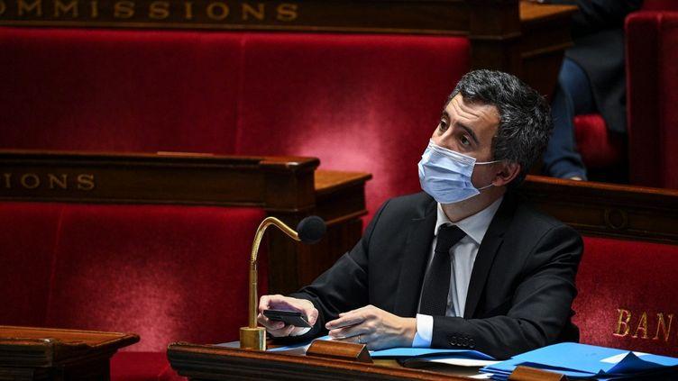 Le ministre de l'Intérieur, Gérald Darmanin, le 24 novembre 2020, à l'Assemblée nationale. (ANNE-CHRISTINE POUJOULAT / AFP)