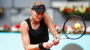 Kristina Mladenovic s'est qualifiée pour le deuxième tour de Rome, mardi 11 mai 2021. (OSCAR BARROSO / SPAIN DPPI / AFP)