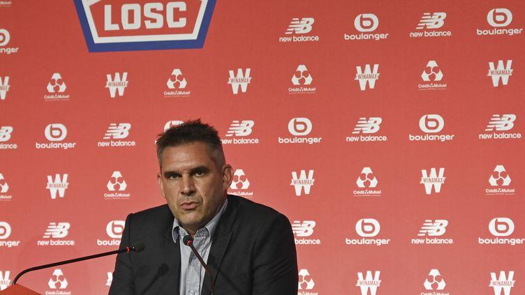 L'entraîneur du LOSC Jocelyn Gourvennec, lors d'une conférence de presse le 7 juillet 2021. (DENIS CHARLET / AFP)