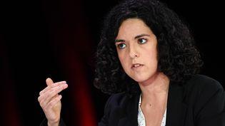 Manon Aubry, tête de liste La France insoumise, le 11 avril 2019, à Paris. (ANNE-CHRISTINE POUJOULAT / AFP)