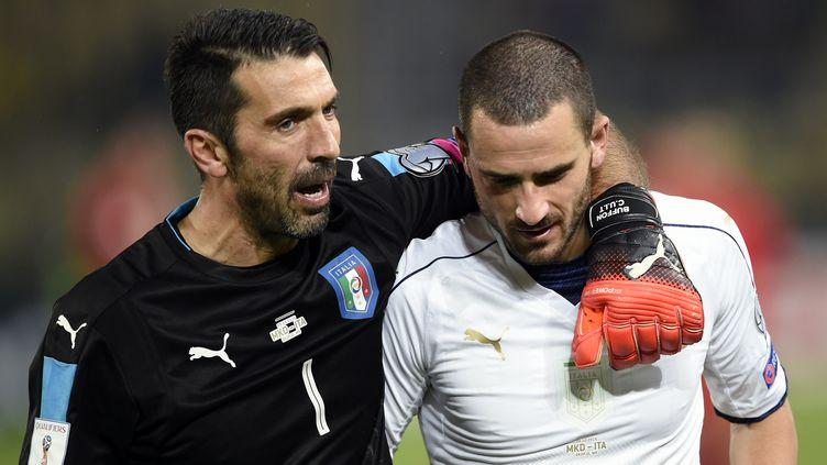 La sélection italienne de Gianluigi Buffon affronte l'Espagne, ce samedi, au stade Santiago Bernabeu.  (DIMITAR DILKOFF / AFP)