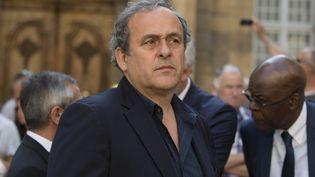 Michel Platini aux funérailles d'Henri Michel, à Aix-en-Provence (Bouches-du-Rhône), le 27 avril 2018. (AVENIR PICTURES / CROWDSPARK)