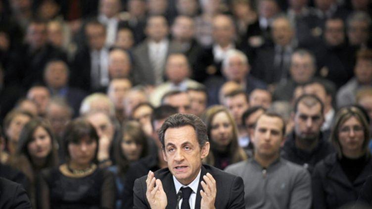 Sarkozy à Pontarlier (9 mars 2010) (AFP/JEFF PACHOUD)