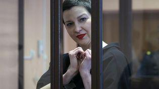 L'opposante Maria Kolesnikova lors du verdict de la justice biélorusse, le 6 septembre 2021, à Minsk. (RAMIL NASIBULIN / BELTA / AFP)