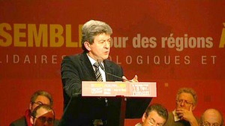M. Mélenchon espère que le Front de gauche sera devant le MoDem lors su scrutin régional. (France 3 Aquitaine)