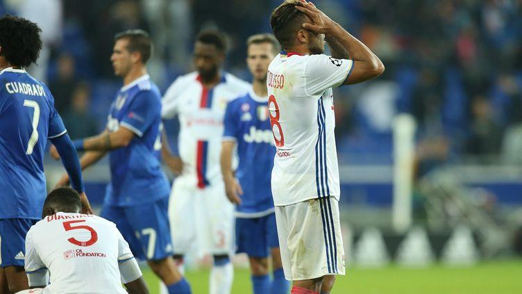 La déception des Lyonnais, battus à l'aller par la Juventus Turin  (LEON TANGUY / MAXPPP)