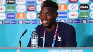 Le joueur de l'équipe de France Paul Pogba lors de la conférence de presse après la rencontre face à l'Allemagne, le 15 juin 2021, à Munich (Allemagne). (UEFA / GETTY IMAGES)