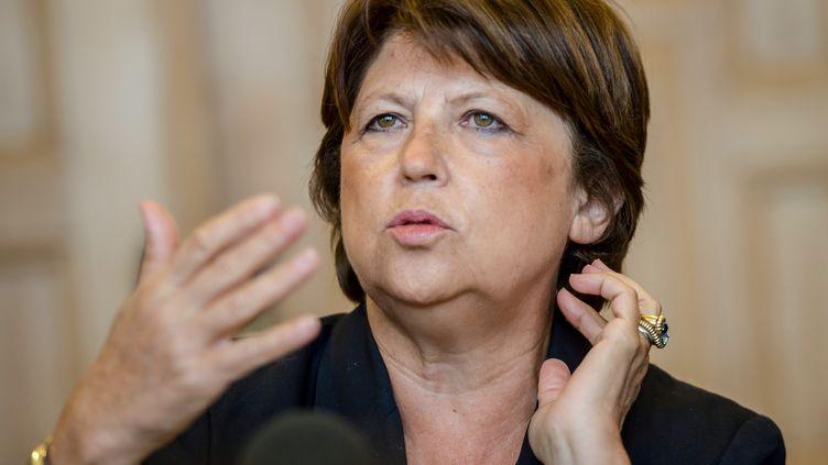 Martine Aubry, maire PS de Lille (Nord) face à la presse à Lille le 8 septembre 2014 (PHILIPPE HUGUEN / AFP)