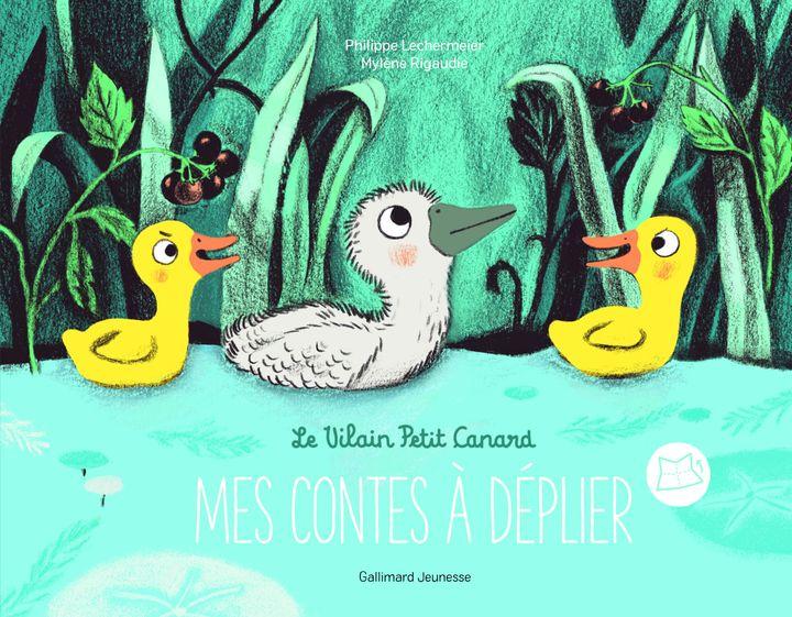 """""""Le vilain petit canard, Mes contes à déplier"""" deP. Lechermeier et illustré par M. Rigaudie d'après H. C. Andersen (GALLIMARD JEUNESSE)"""