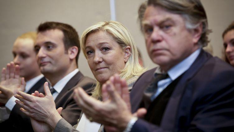 (Marine Le Pen, au centre, et Gilbert Collard, à droite, le 2 juin 2015 ©maxppp)