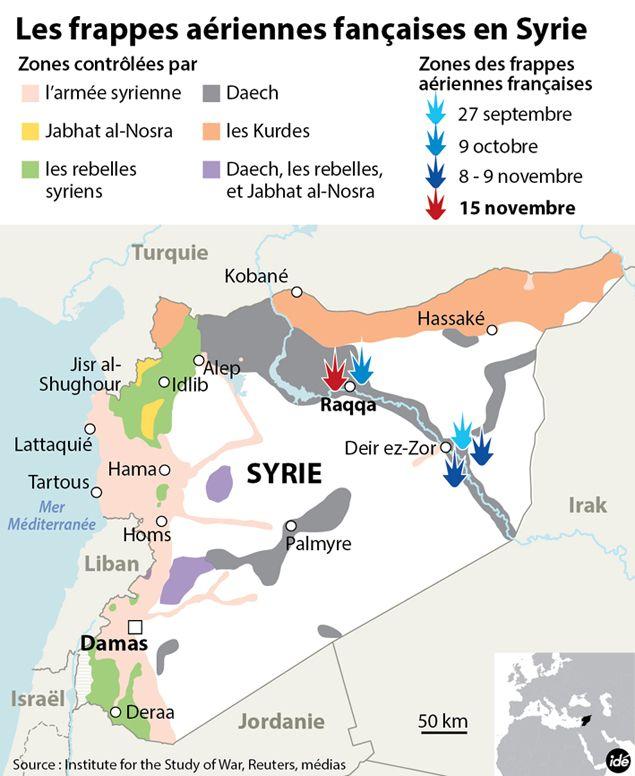 (Frappes aériennes françaises en Syrie © IDE)