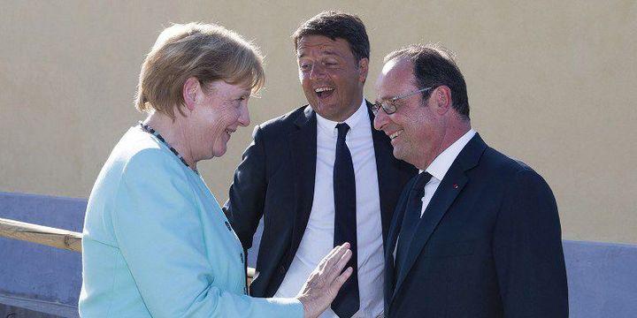 Renzi, Merkel et Hollande le 22 août en Italie. (Tiberio Barchielli / Italian Pri / ANADOLU AGENCY)
