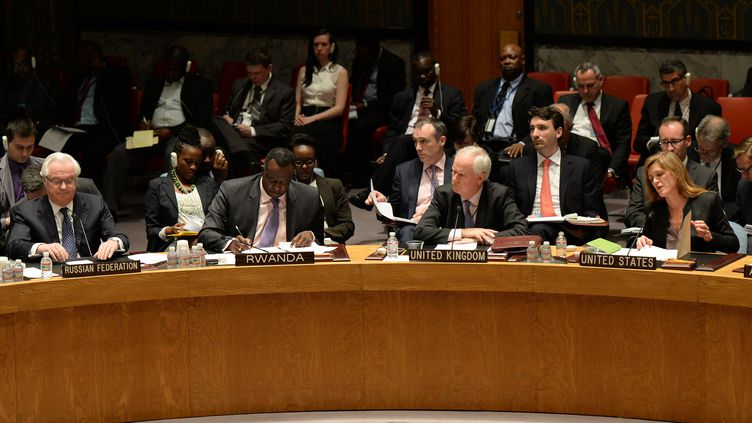 Le Conseil de sécurité des Nations unies réuni à New York (Etats-Unis), le 13 avril 2014, à la demande de la Russie après un regain de tension dans l'est de l'Ukraine. (DON EMMERT / AFP)