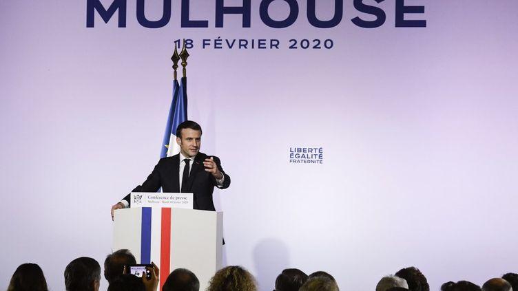 Le président français Emmanuel Macron à Mulhouse(Haut-Rhin), le 18 février 2020. (SEBASTIEN BOZON / AFP)