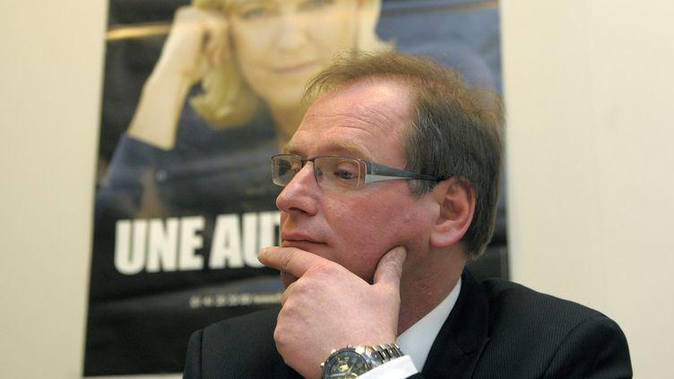 Philippe Lecoq, tête de liste FN aux élections municipales, le 6 mars 2014 à Orléans (Loiret). (  MAXPPP)