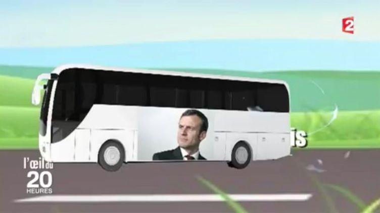 Capture d'écran d'un reportage de France 2 sur les bus Macron. (FRANCE 2)