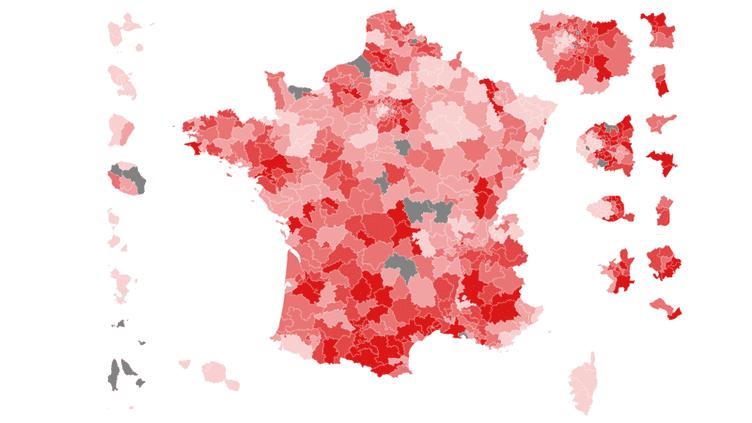 """CARTE. Législatives : la France du vote """"insoumis"""" au premier tour (NICOLAS ENAULT / CARTO)"""