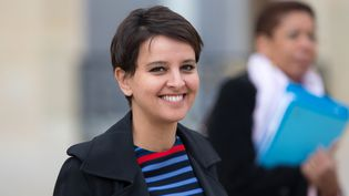 La ministre de l'Education Najat Vallaud Belkacem à l'Elysée, à Paris, le 27 avril 2016. (YANN BOHAC / CITIZENSIDE / AFP)