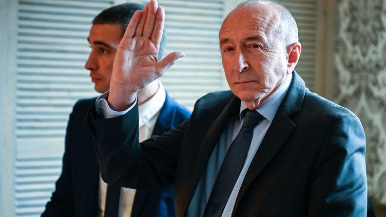 Gerard Collomb, maire de Lyon, et Yann Cucherat, candidat à la mairie de Lyon, le 5 mars 2020, à Lyon (Rhône). (STEPHANE AUDRAS / REA)