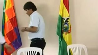 Evo Morales, président de Bolivie, vient d'annoncer sa démission à la télévision bolivienne, le 10 novembre 2019. (HO / BOLIVIA TV / AFP)