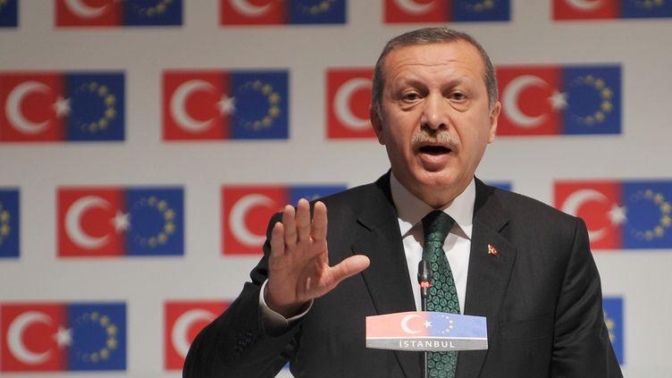 Le Premier ministre turc, Recep Tayyip Erdoğan, à la séance d'ouverture d'une conférence du ministère des Affaires européennes, à Istanbul (Turquie), le 7 juin 2013. ( AFP )