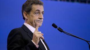Le président de l'UMP, Nicolas Sarkozy, le 8 avril 2015 au siège de l'UMP, à Paris. (KENZO TRIBOUILLARD / AFP)