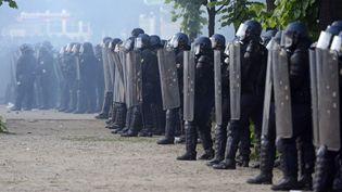 Des CRS sur l'esplanade des Invalides, le 26 mai 2013 à Paris. (ERIC FEFERBERG / AFP)