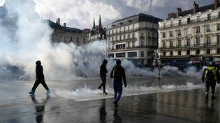 """Manifestation régionale des """"gilets jaunes"""" dans le centre-ville d'Angers, le 19 janvier 2019. (FRANCK DUBRAY / MAXPPP)"""