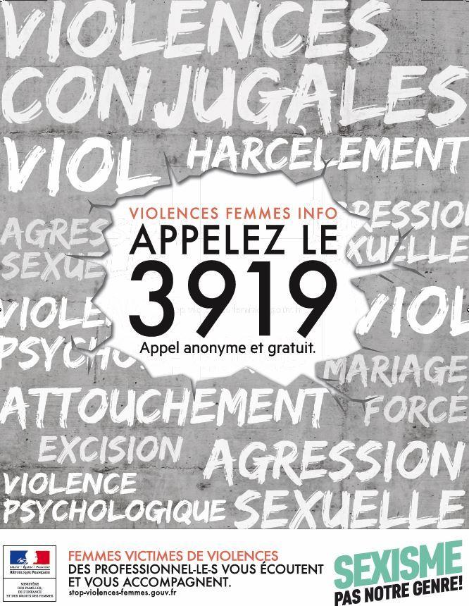 L'affiche de la campagne du 3919, le numéro d'urgence pour les femmes victimes de violences. (Ministère des Familles, de l'Enfance et des Droits des Femmes)
