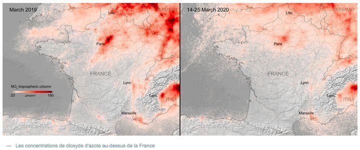Concentrations en dioxyde d'azote au-dessus de la France. (COPERNICUS SENTINEL DATA (2019-20) TRAITEES PAR KNMI/ESA)