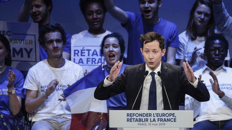 François-Xavier Bellamy lors d'un meeting pour les élections européennes, le 15 mai 2019 à Paris. (GEOFFROY VAN DER HASSELT / AFP)