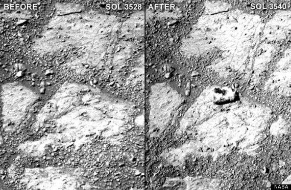 Photo avant-après de la zone où le caillou, de la taille d'un beignet, est mystérieusement apparu. ( NASA)