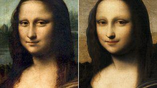 """Une comparaison des deux """"Joconde"""". Celle de gauche, exposée à Paris au musée du Louvre, a été peinte par Léonard de Vinci. Celle de droite, peut-être peinte dix ans plus tôt, doit faire ses preuves. (MONA LISA FOUNDATION / AFP)"""