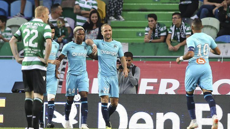 Valère Germain, buteur contre le Sporting Portugal en amical (1-1). (MIGUEL A. LOPES / LUSA)